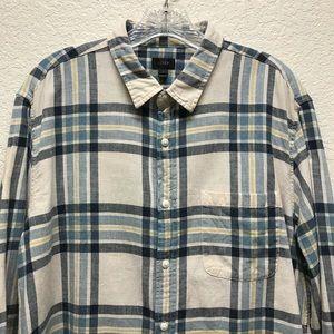 J Crew | Plaid 100% Cotton Button Up Shirt